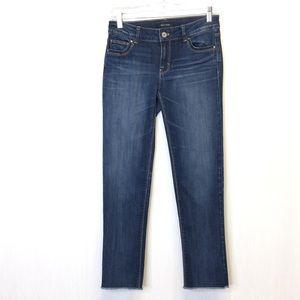 White House Black Market Slim Crop Jeans Raw Hem 0